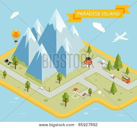 Travel banner. Paradise island isometric flat map. Nature and vacation, sea and island. Vector illustration poster