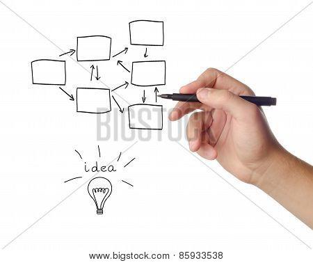 Businesswoman draws a flowchart on white background