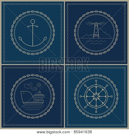 Set Of Marine Emblem , Vector Illustration