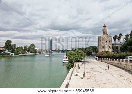 Gold Tower (torre Del Oro) In Seville, Spain