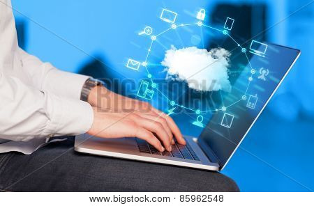 Hand working with a Cloud Computing diagram, new technology concept poster