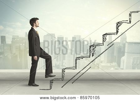 Business man climbing up on hand drawn staircase concept on city background