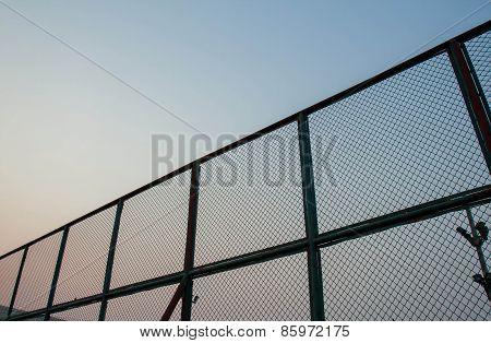 Steel mesh barrier Tennis Court.