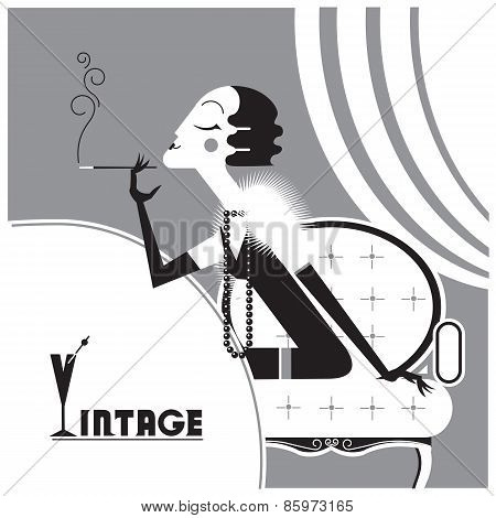 Vector Vintage Flapper Girl With Sigaret