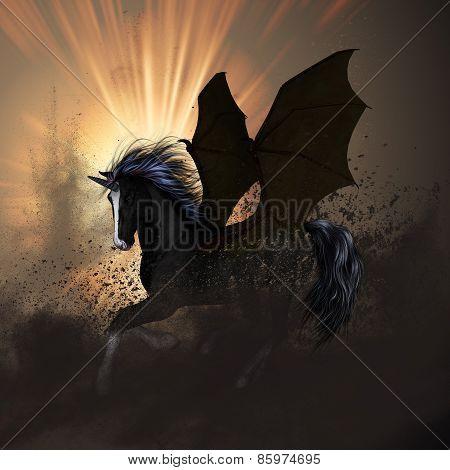 Beautiful dark unicorn