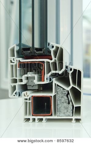 Cutaway model of a plastic window frame