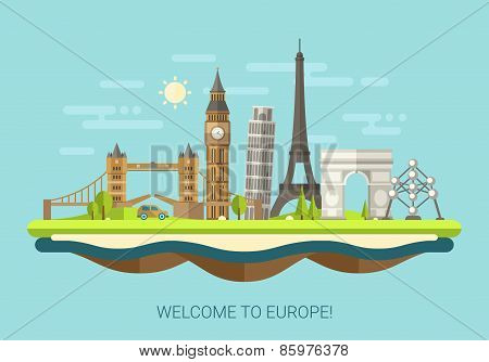 Vector illustration of flat design composition with famous european world landmarks icons poster