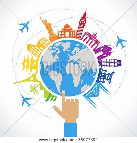Travel concept. Flat design travel background. The hand of man shows a world map surrounded by icons of travel and landmarks