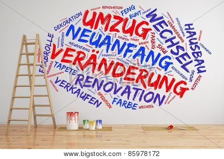 Tag cloud on wall in German about
