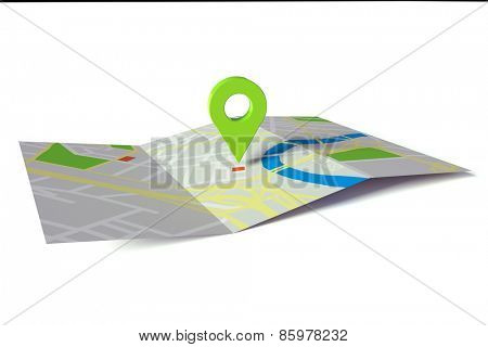 GPS navigation on city road map on paper (3D Rendering)
