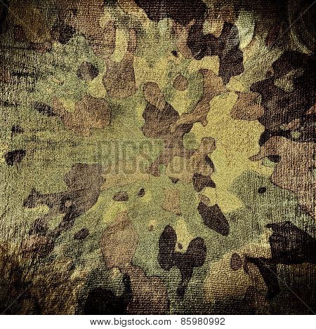 dingy camouflage on natural canvas