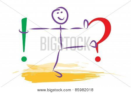 Man Illustration Questionmark And Exclamation Mark