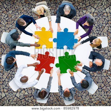 Business People Jigsaw Puzzle Collaboration Team Concept poster