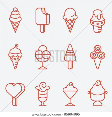 Ice cream set, thin line icons, flat design