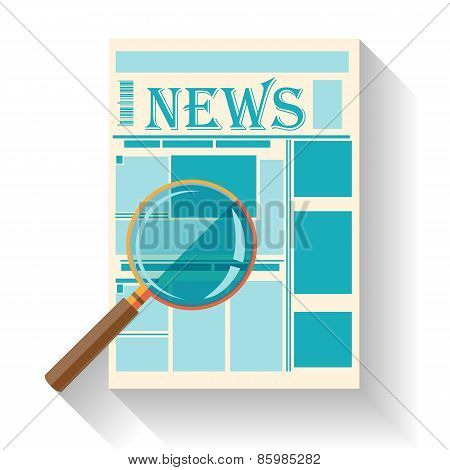 Flat design of newspaper icon isolated on white background with long shadow. News Search.
