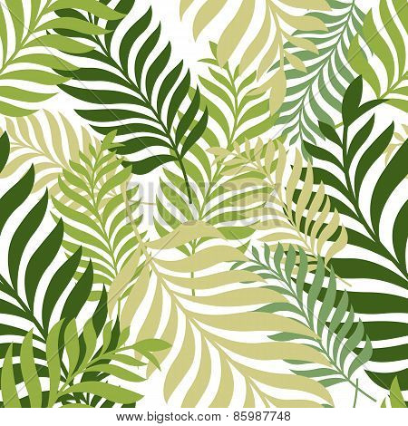 Green Palm Tree Leaves. Vector Seamless Pattern. Nature Organic Background