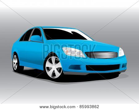 Vector sports blue car front view