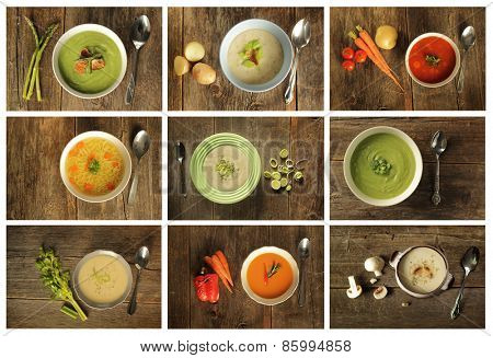 Different variety of soup on wooden background. Broccoli, celery, asparagus and leek, vegetable, mushroom etc.