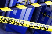 Crime scene investigation police boundary tape at the scene of a break in and burglary poster