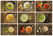 Different variety of soup on wooden background. Broccoli, celery, asparagus and leek, vegetable, mushroom etc. poster