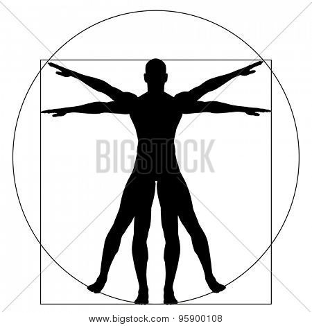 Vitruvian human or man as a concept, metaphor conceptual 3d proportion anatomy body isolated on background