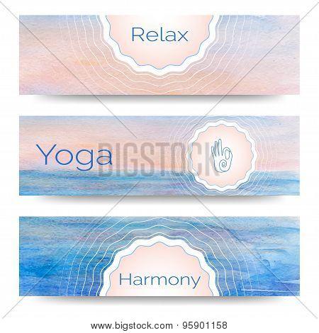 Professional banner templates or banner design for yoga studio,  yoga website, yoga magazine, publis