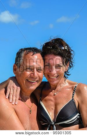 Couple In Love On The Carribean Sea