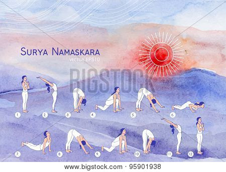 Vector yoga illustration. Surya Namaskara.