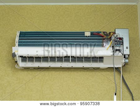 air conditioner install on wall for condo or meeting room poster