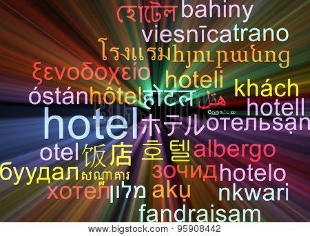 Background concept wordcloud multilanguage international many language illustration of hotel glowing light