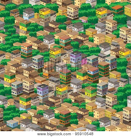 A Town Surrounded By Plants