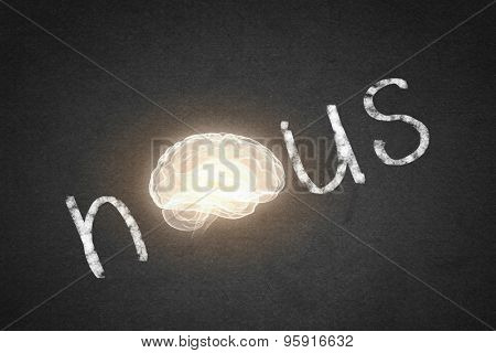 Word nous with brain instead of letter O