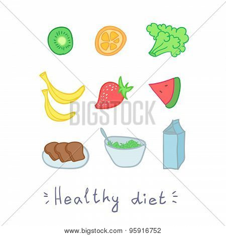Healthy Diet. Set Of Fruit. Hend Drawn Illustration