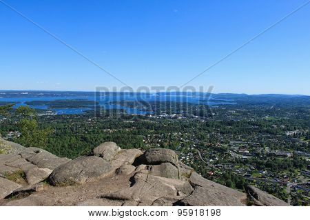 View of Oslo and Oslofjord on a sunny summer day