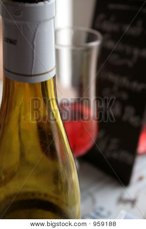 Wine Bottle, Glass, In Restaurant