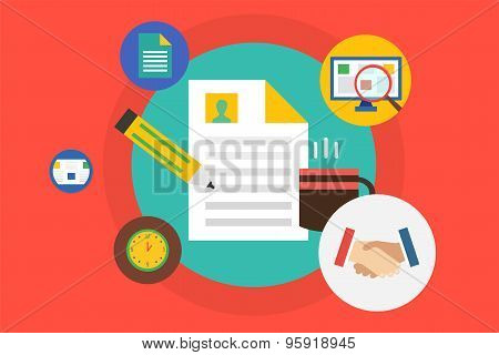 Job search after university  infographic . Students, labor, searching and professions. Vector stocks