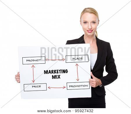 Caucasian businesswoman hold white board with marketing mix concept