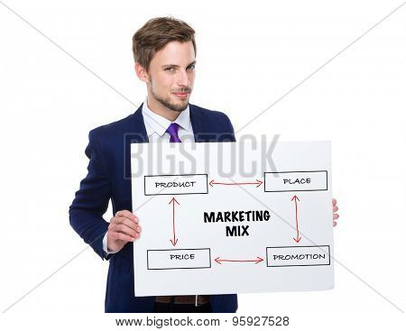 Businessman hold with white board showing marketing mix concept
