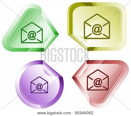 mail at-sign. Vector sticker.