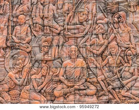 Bas-relief Wall In Phu-tok  Temple, Bueng Kan, Thailand