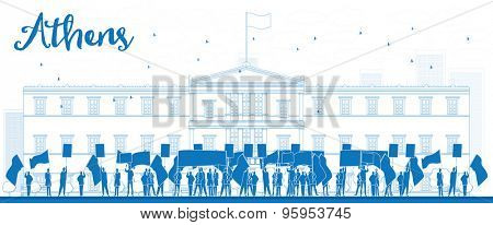 Greek protesting in front of the Greek Parliament in Athens,Greece. Outline  vector illustration