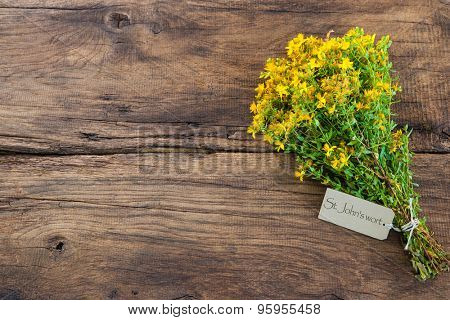 Hypericum perforatum or St john's wort with a tag on wooden background