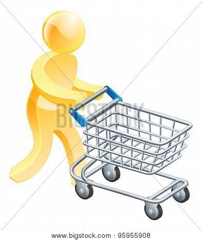Shopping Trolley Gold Man