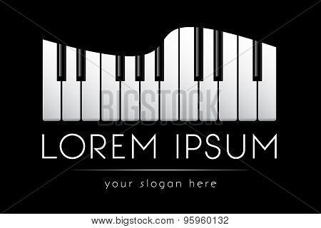 Logo template, music, grand piano keys, vector