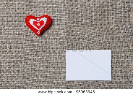 White Blank Notecard And Handmade Heart
