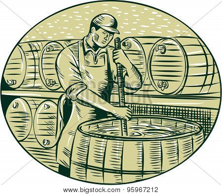 Etching engraving handmade style illustration of a brewmaster brewer stirring the brew in brew kettle at brewery set inside oval. poster