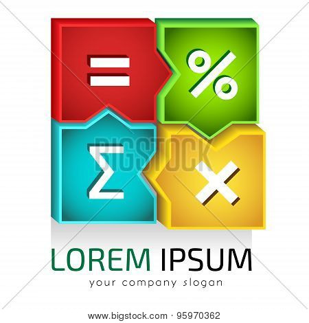 Vector logo template, good for accountancy or  bookkeeping service, educational math classes and so on poster