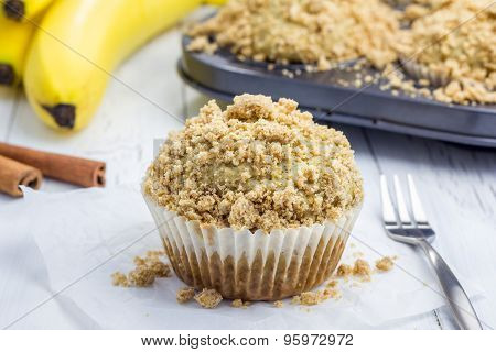 Delicious Homemade Cinnamon Banana Muffins With Streusel