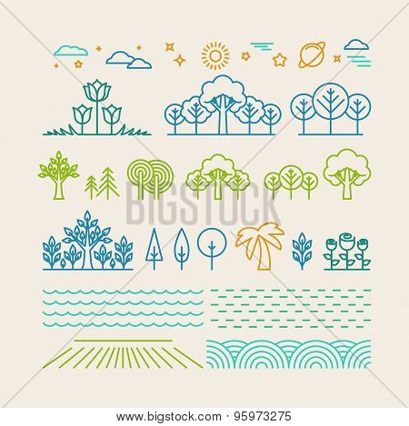 Vector Linear Landscape Icons