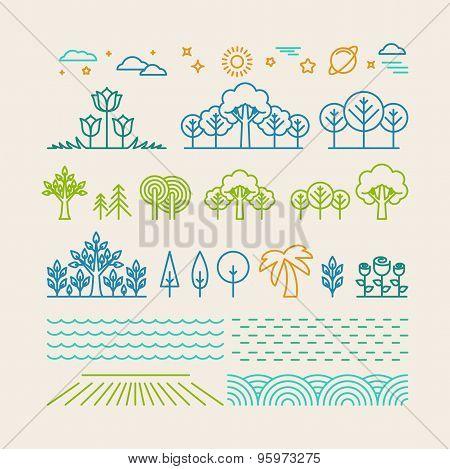 Vector Linear Landscape Icons